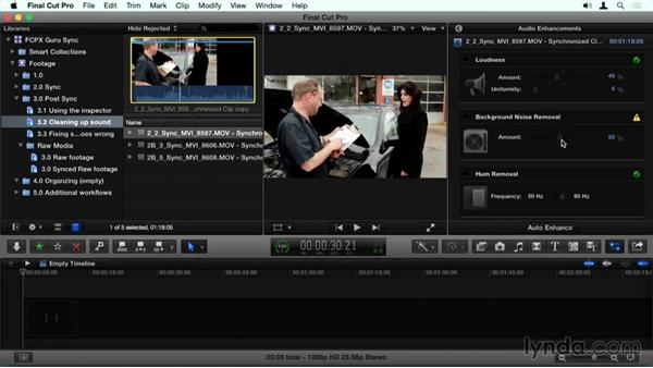 Cleaning up sound in the Inspector: Final Cut Pro X Guru: Sync Sound Workflow