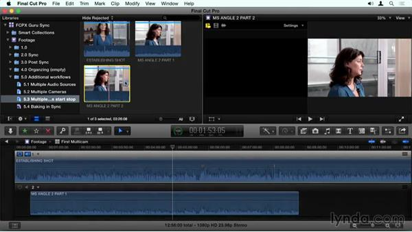 Multiple cameras with a start stop: Final Cut Pro X Guru: Sync Sound Workflow
