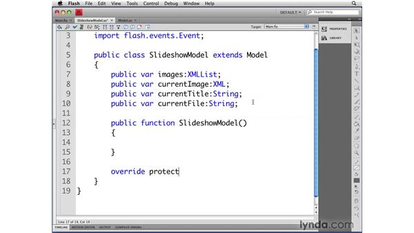 Defining the SlideShowModel class properties and methods: Flash CS4 Professional: Object-Oriented Programming