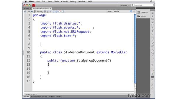 Creating the SlideShowDocument class: Flash CS4 Professional: Object-Oriented Programming