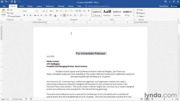 Changing text case: Office 365: Word Essential Training