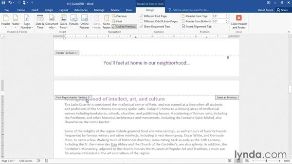 Organizing a document with sections: Office 365: Word Essential Training