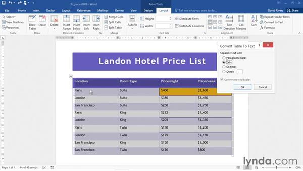 Converting a table to text: Office 365: Word Essential Training