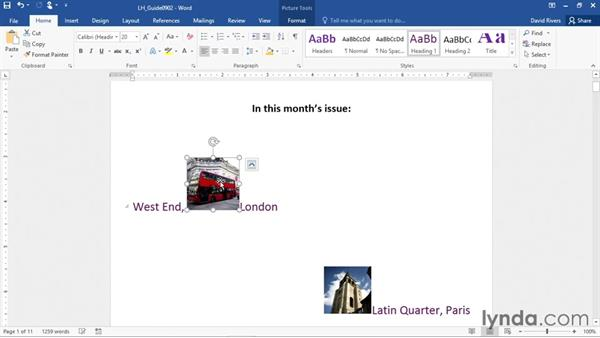 Positioning, rotating, and sizing pictures: Office 365: Word Essential Training