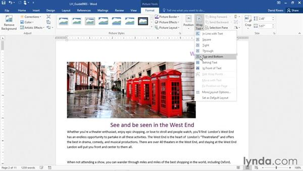 Wrapping text around graphics: Office 365: Word Essential Training