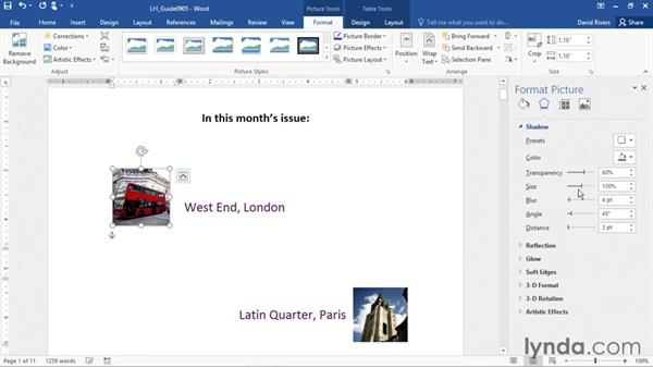 Applying special effects to graphics: Office 365: Word Essential Training