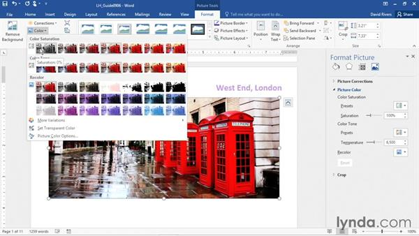 Adjusting photos in a document: Office 365: Word Essential Training