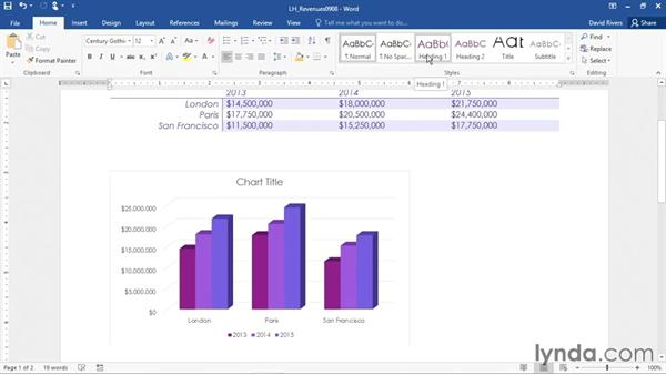 Inserting a data chart: Office 365: Word Essential Training