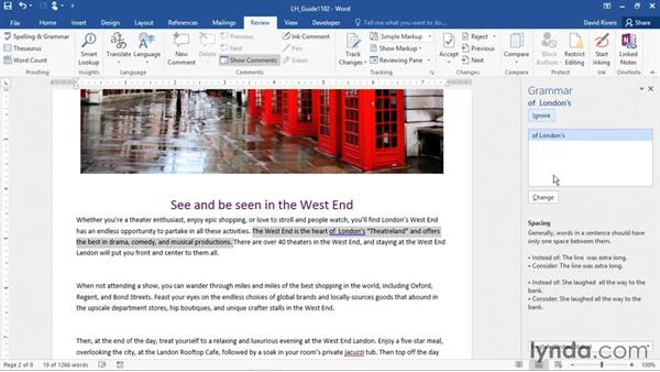 Checking spelling and grammar: Office 365: Word Essential Training