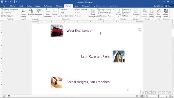 Inserting and reviewing comments: Office 365: Word Essential Training