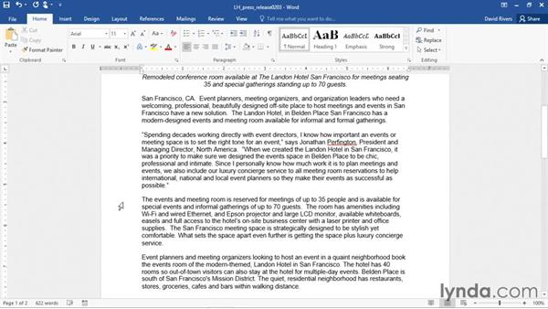 Rearranging text with Cut, Copy, and Paste: Word 2016 Essential Training