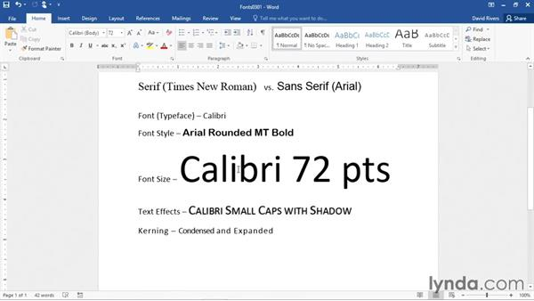 Introduction to fonts: Word 2016 Essential Training