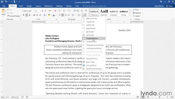 Applying paragraph shading and borders: Word 2016 Essential Training