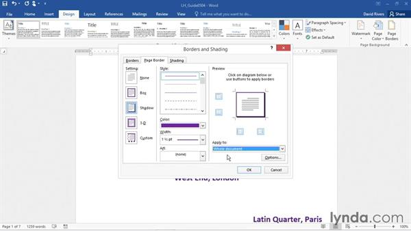 Adding page backgrounds, borders, and watermarks: Word 2016 Essential Training