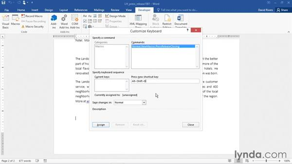 Creating and running a macro: Word 2016 Essential Training