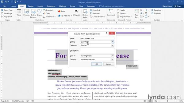 Creating and saving Quick Parts: Word 2016 Essential Training