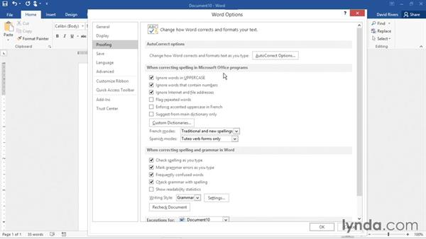 Setting proofing and autocorrect options: Word 2016 Essential Training