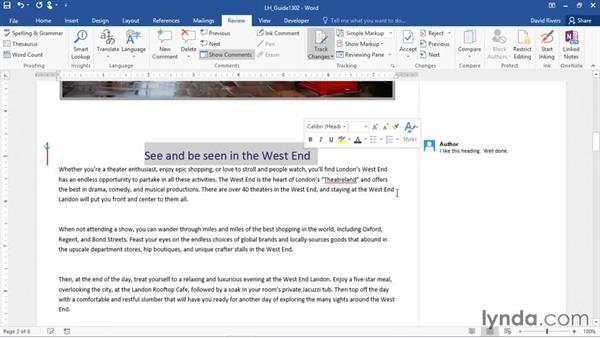 Tracking changes and showing markup: Word 2016 Essential Training