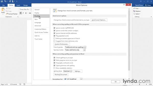 Changing Word default settings