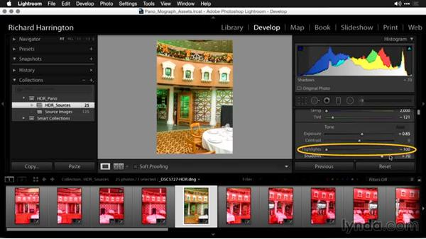 Developing strategies for HDR files in Lightroom: Using Panoramic Photos for Motion Graphics and Visual Effects
