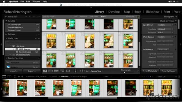 Selecting images and a merging method in Lightroom: Using Panoramic Photos for Motion Graphics and Visual Effects