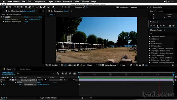 Using the offset method with a 360-degree panoramic photo: Using Panoramic Photos for Motion Graphics and Visual Effects