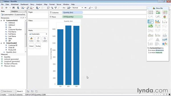 Creating a visualization using Show Me: Tableau 9 Essential Training