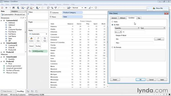 Creating a condition filter: Tableau 9 Essential Training