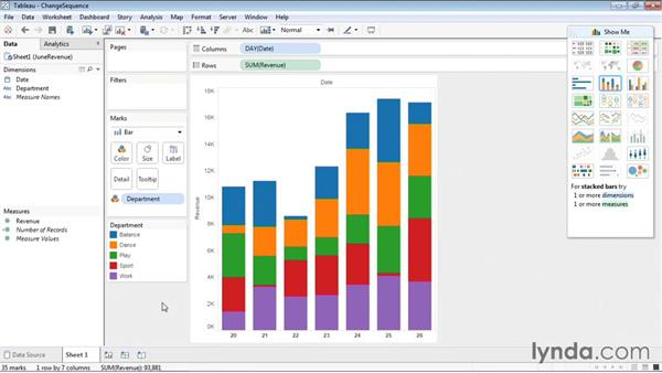 Changing the color sequence in charts: Tableau 9 Essential Training