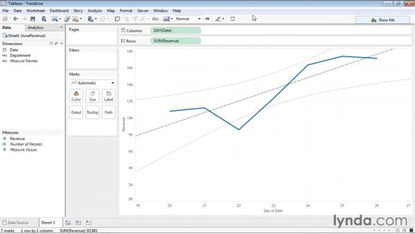 Adding a trend line to a chart: Tableau 9 Essential Training