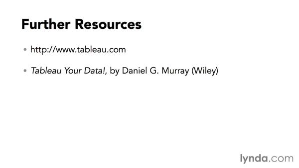 Further resources: Tableau 9 Essential Training