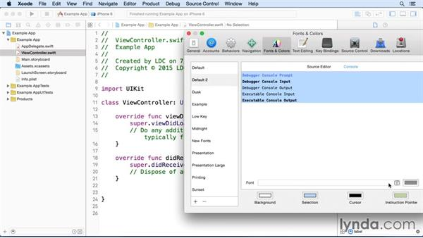 Setting preferences for Xcode: Building and Distributing a Simple App with Xcode and Swift