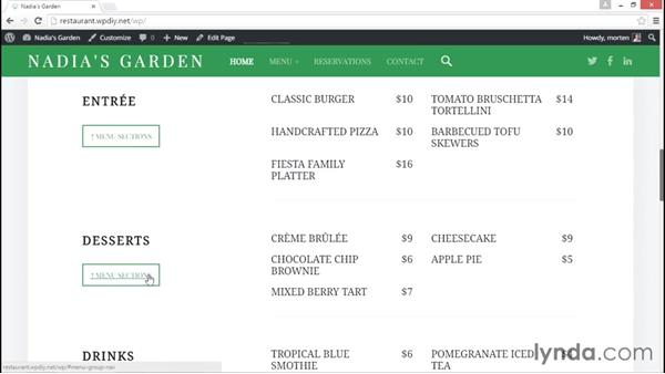 A preview of the final site: WordPress DIY: Restaurant Website