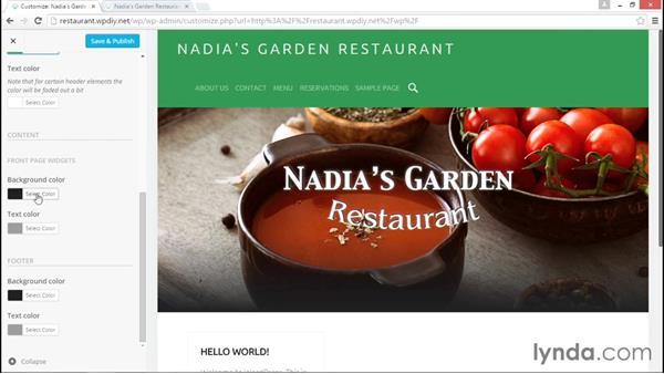 Customizing fonts and colors: WordPress DIY: Restaurant Website