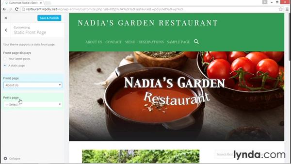 Creating a static front page: WordPress DIY: Restaurant Website