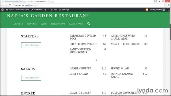 Customizing the front page: WordPress DIY: Restaurant Website