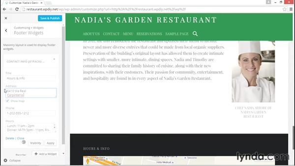 Adding widgets to the front page: WordPress DIY: Restaurant Website