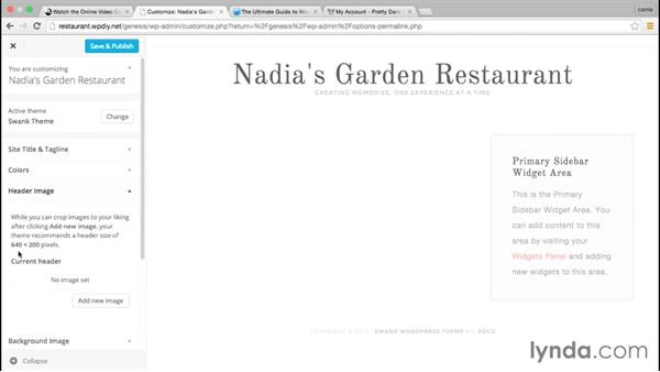 Basic theme configurations: WordPress and Genesis DIY: Restaurant Website