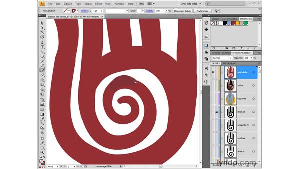 Resizing the brush and erasing: Illustrator CS4 One-on-One: Fundamentals