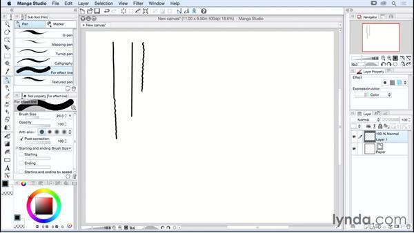 Understanding subtools and common tool settings: Manga Studio Essential Training