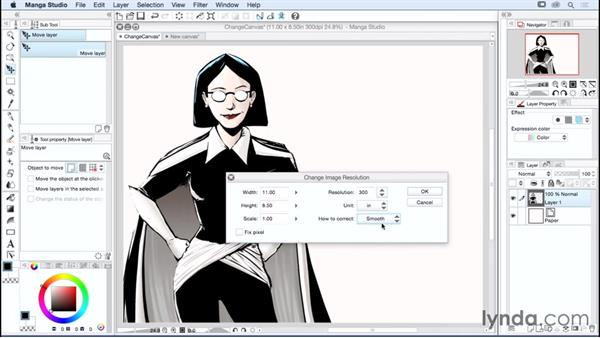 Changing the page shape and resolution: Manga Studio Essential Training