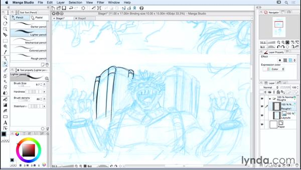 Creating a rough sketch and managing layers: Manga Studio Essential Training