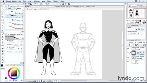 Using the symmetric ruler: Manga Studio Essential Training
