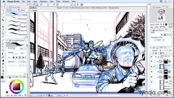 Inking the page: Manga Studio Essential Training