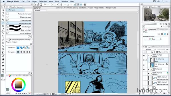 Laying color flats: Manga Studio Essential Training