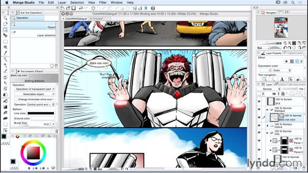 Adding and adjusting text and word balloons: Manga Studio Essential Training