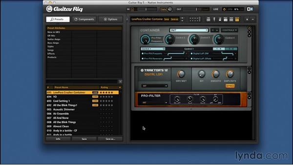 Saving and recalling presets: Signal Processing with GUITAR RIG