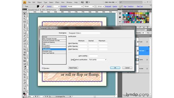 Creating and applying a paragraph style: Illustrator CS4 One-on-One: Fundamentals
