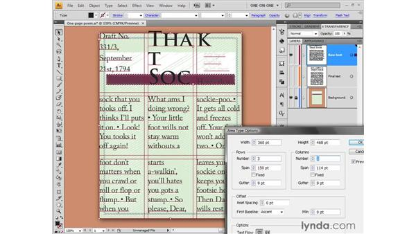 Setting Area Type options: Illustrator CS4 One-on-One: Fundamentals