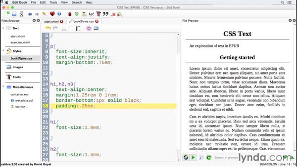 Styling a heading: CSS for EPUB